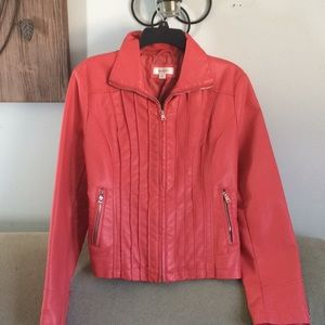 Dressbarn Coral Faux Leather Jacket Size Small
